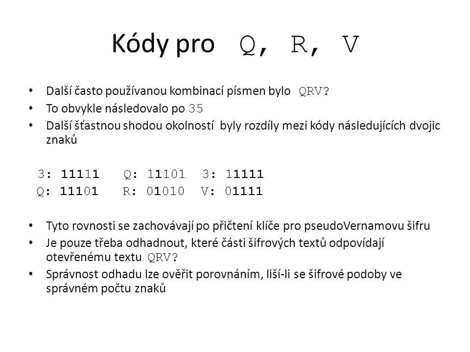 Kódy pro Q, R, V Další často používanou kombinací písmen bylo QRV