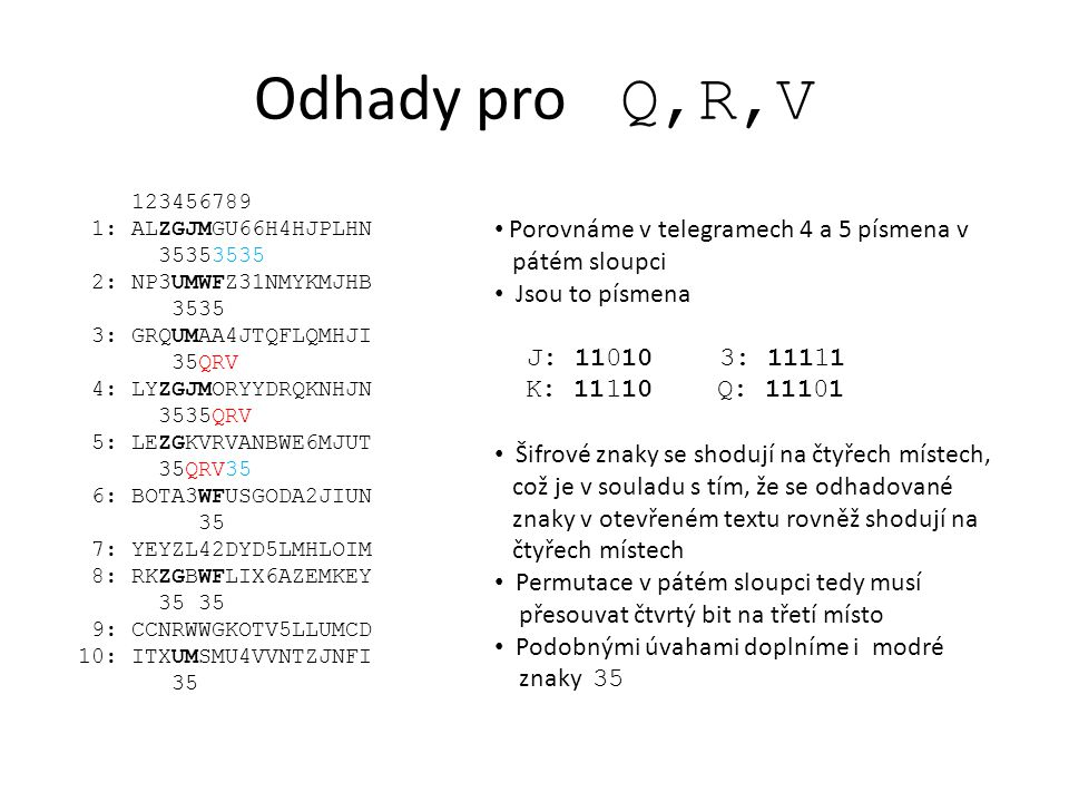 Odhady pro Q,R,V Porovnáme v telegramech 4 a 5 písmena v pátém sloupci