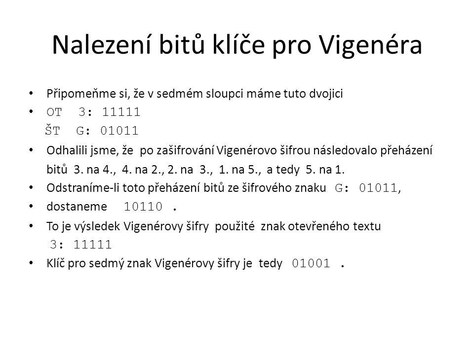 Nalezení bitů klíče pro Vigenéra