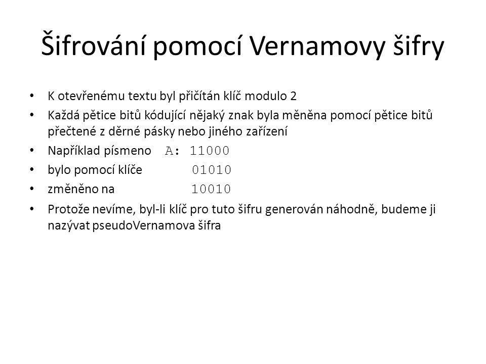 Šifrování pomocí Vernamovy šifry