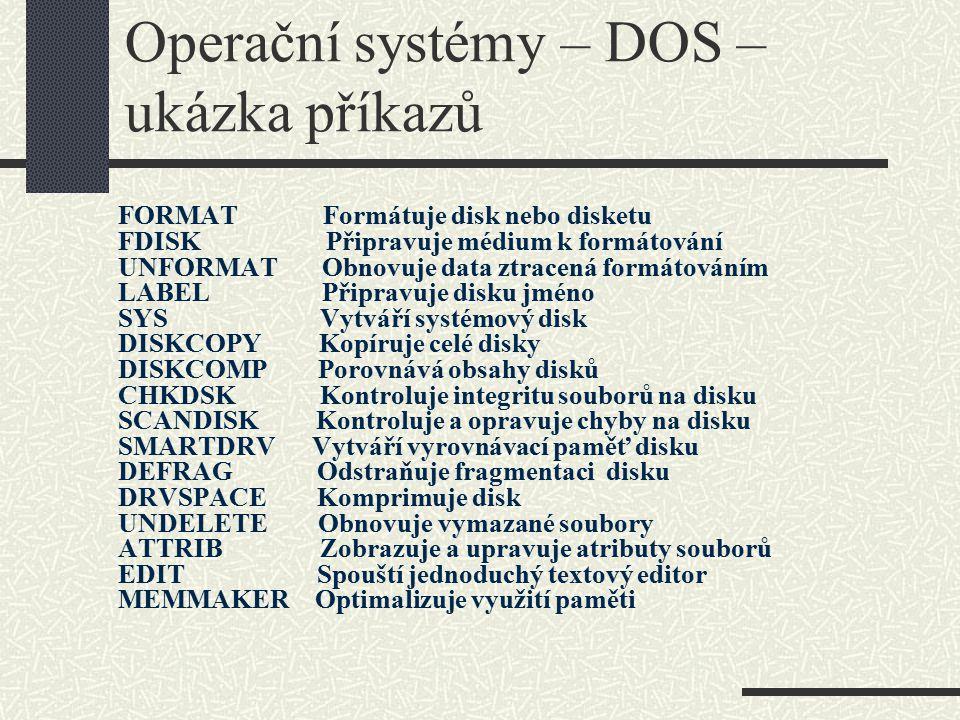 Operační systémy – DOS – ukázka příkazů
