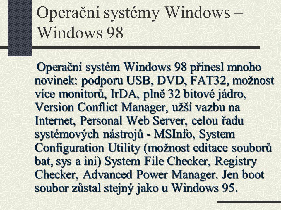 Operační systémy Windows – Windows 98