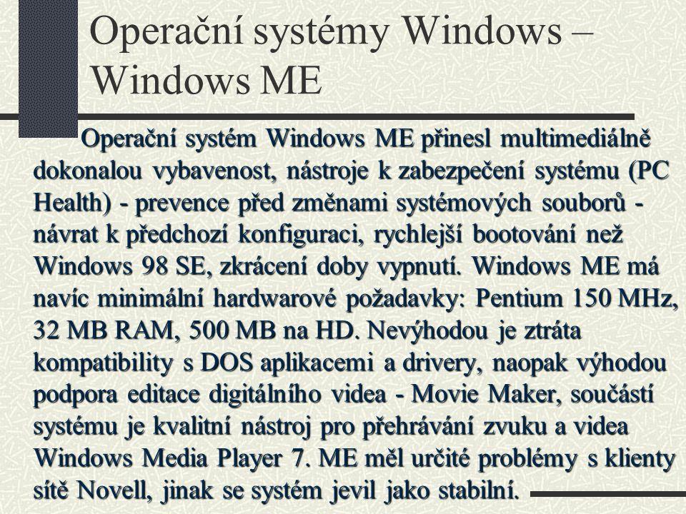 Operační systémy Windows – Windows ME