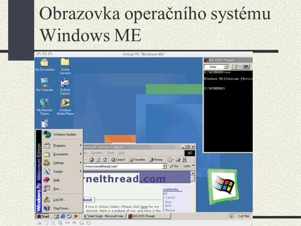 Obrazovka operačního systému Windows ME