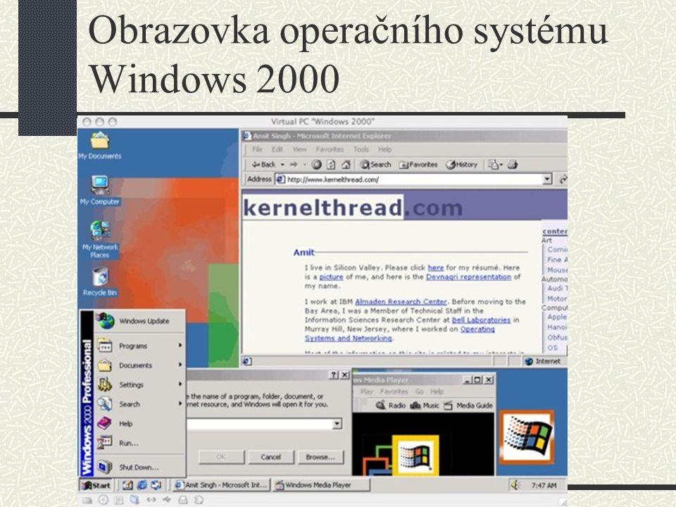 Obrazovka operačního systému Windows 2000