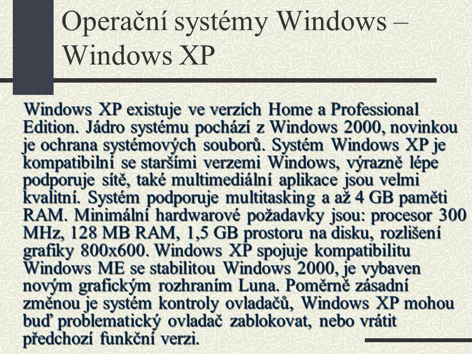 Operační systémy Windows – Windows XP