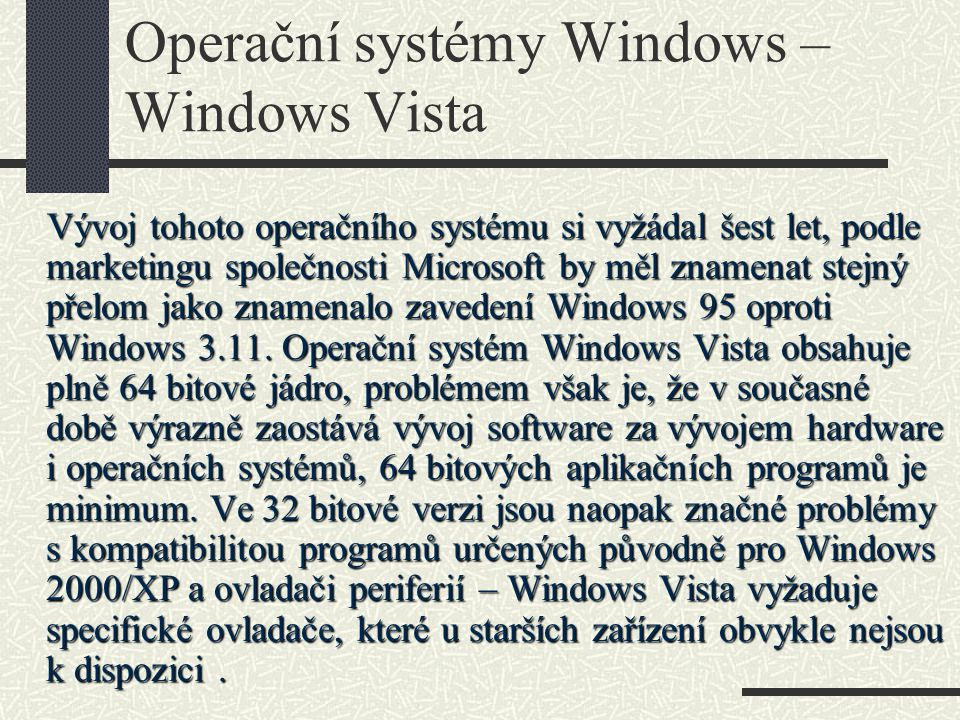 Operační systémy Windows – Windows Vista