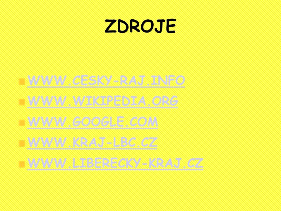 ZDROJE WWW.CESKY-RAJ.INFO WWW.WIKIPEDIA.ORG WWW.GOOGLE.COM