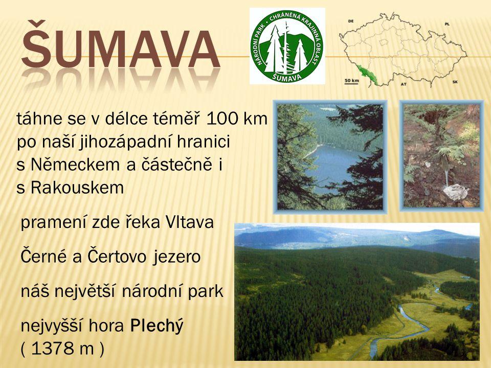 ŠUMAVA táhne se v délce téměř 100 km po naší jihozápadní hranici s Německem a částečně i s Rakouskem.