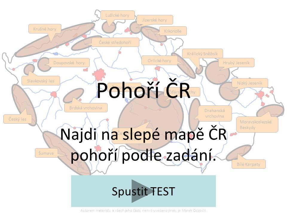 Najdi na slepé mapě ČR pohoří podle zadání.