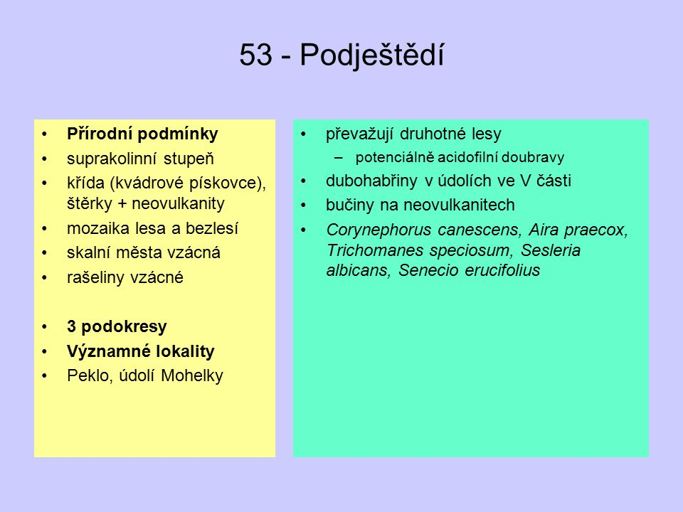 53 - Podještědí Přírodní podmínky suprakolinní stupeň