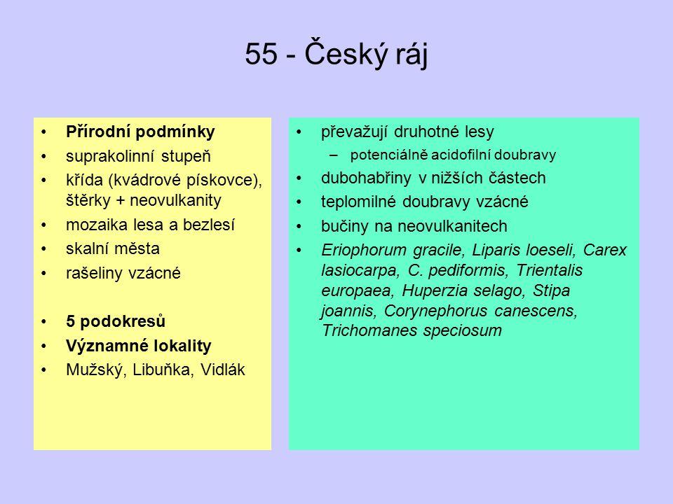 55 - Český ráj Přírodní podmínky suprakolinní stupeň