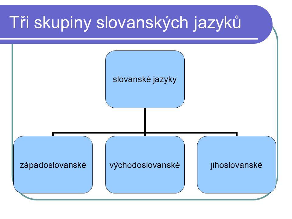 Tři skupiny slovanských jazyků