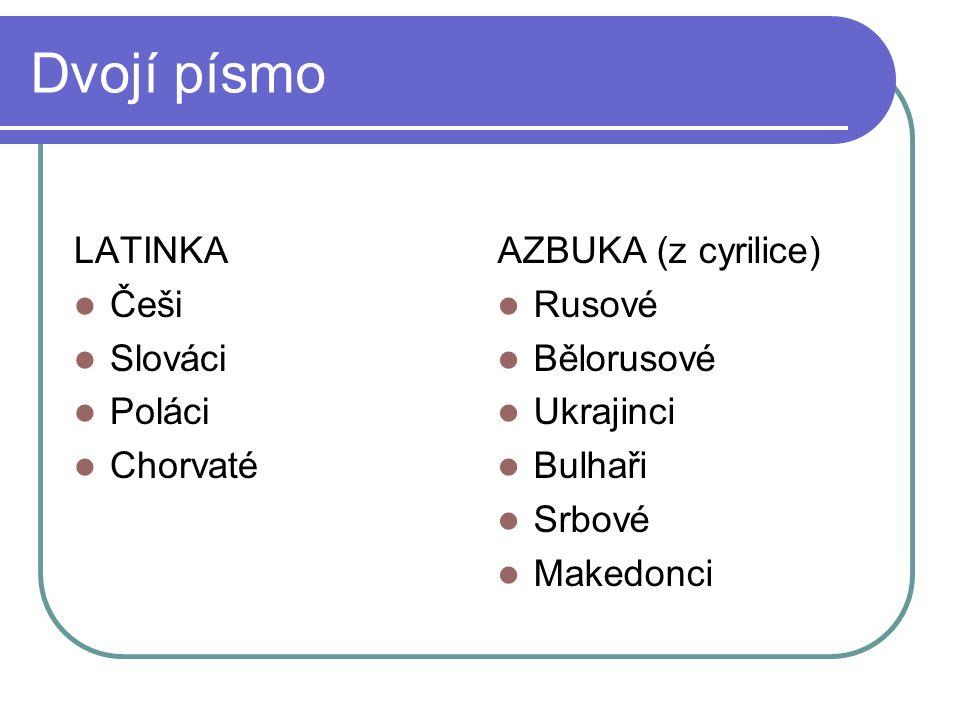 Dvojí písmo LATINKA Češi Slováci Poláci Chorvaté AZBUKA (z cyrilice)