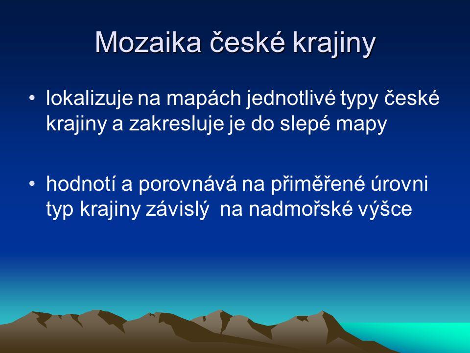 Mozaika české krajiny lokalizuje na mapách jednotlivé typy české krajiny a zakresluje je do slepé mapy.