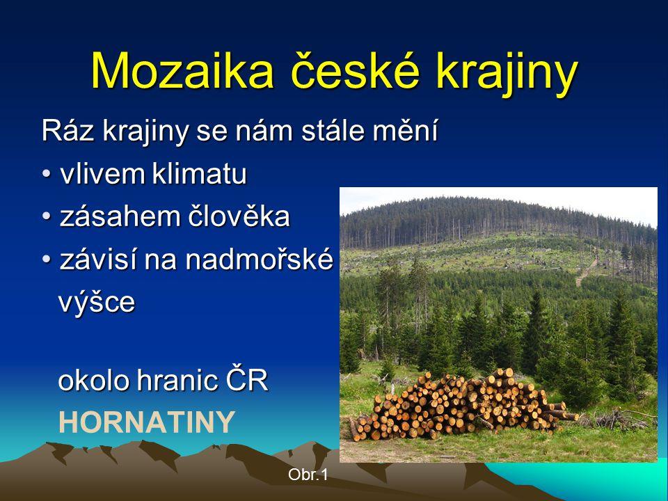Mozaika české krajiny Ráz krajiny se nám stále mění vlivem klimatu