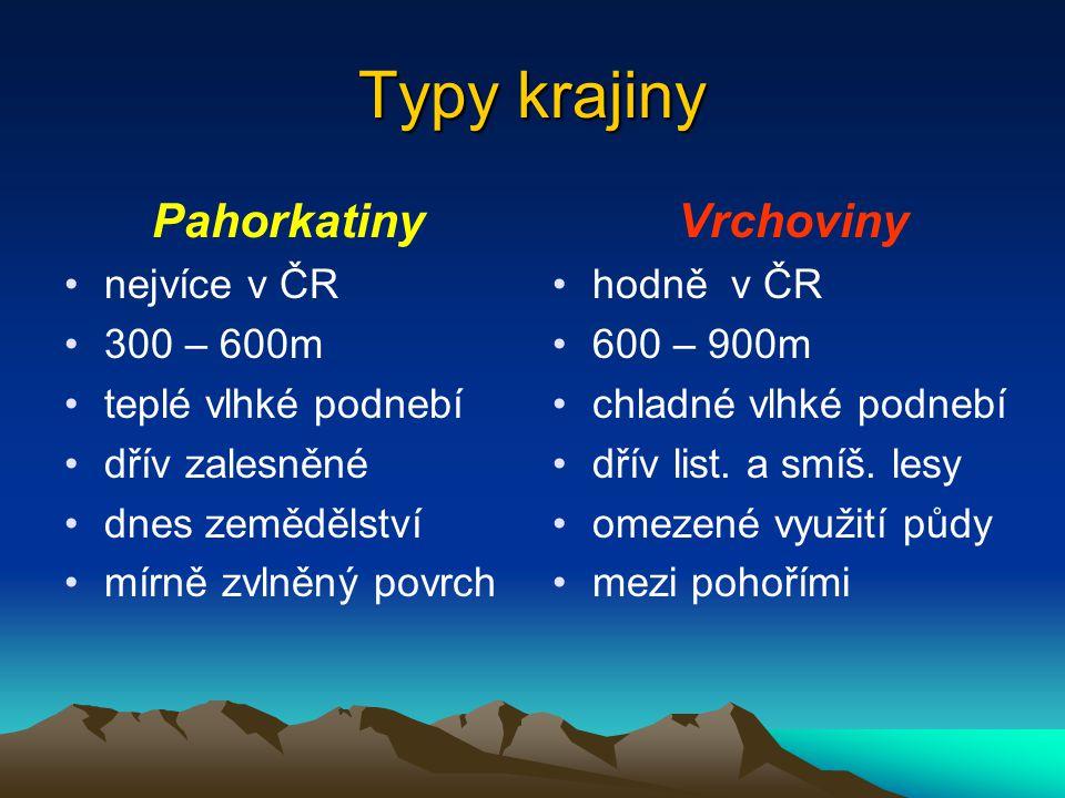 Typy krajiny Pahorkatiny Vrchoviny nejvíce v ČR 300 – 600m