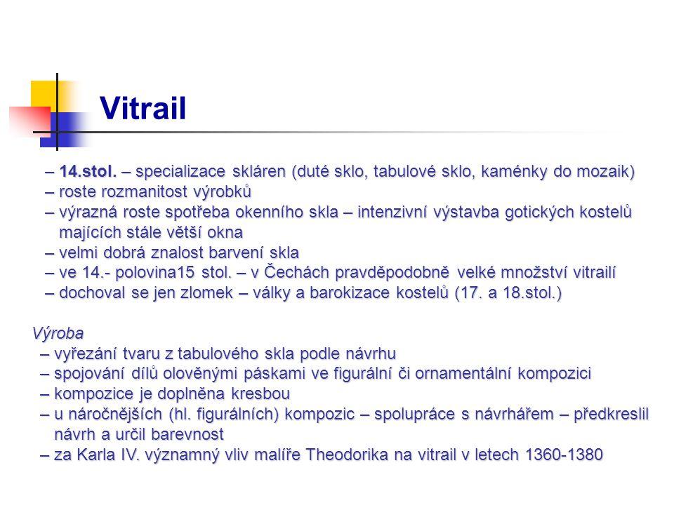 Vitrail – 14.stol. – specializace skláren (duté sklo, tabulové sklo, kaménky do mozaik) – roste rozmanitost výrobků.