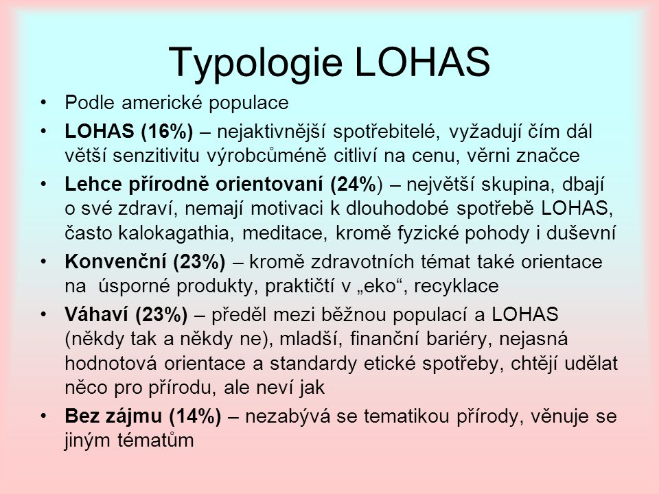 Typologie LOHAS Podle americké populace
