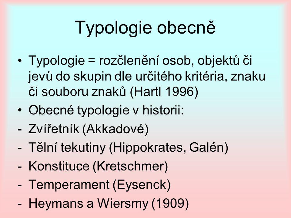 Typologie obecně Typologie = rozčlenění osob, objektů či jevů do skupin dle určitého kritéria, znaku či souboru znaků (Hartl 1996)