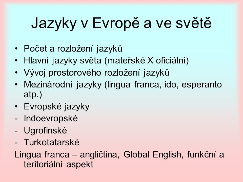 Jazyky v Evropě a ve světě