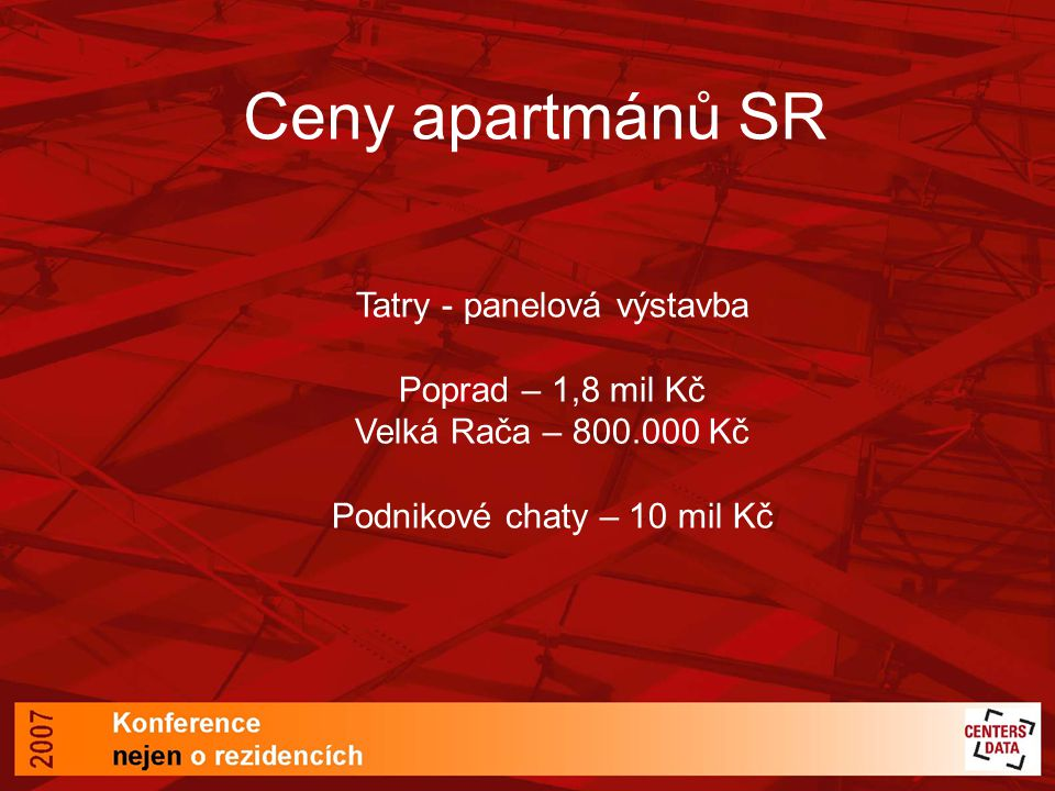 Ceny apartmánů SR Tatry - panelová výstavba Poprad – 1,8 mil Kč Velká Rača – 800.000 Kč Podnikové chaty – 10 mil Kč.