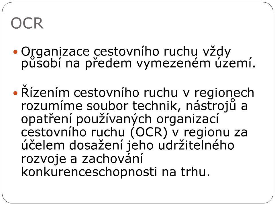 OCR Organizace cestovního ruchu vždy působí na předem vymezeném území.