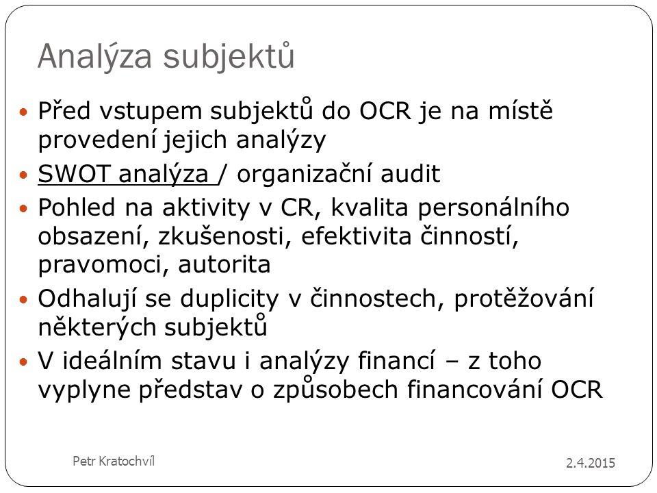 Analýza subjektů Před vstupem subjektů do OCR je na místě provedení jejich analýzy. SWOT analýza / organizační audit.