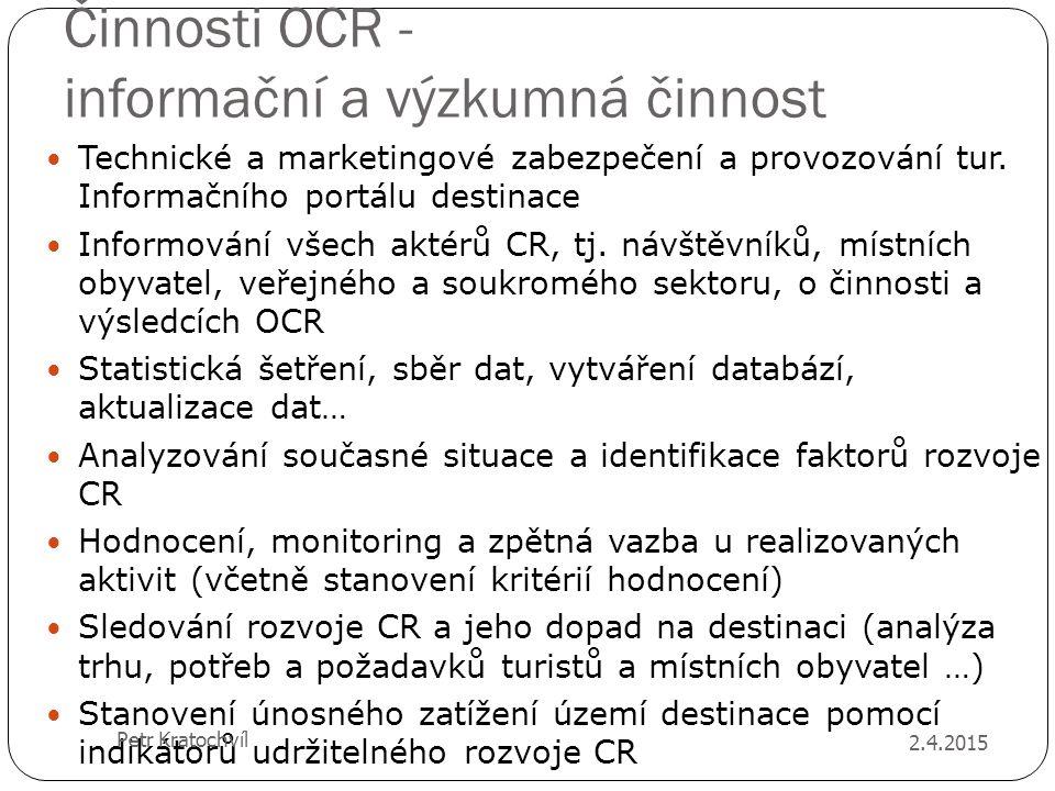 Činnosti OCR - informační a výzkumná činnost