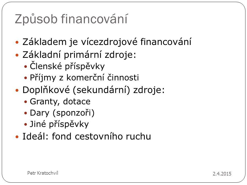 Způsob financování Základem je vícezdrojové financování