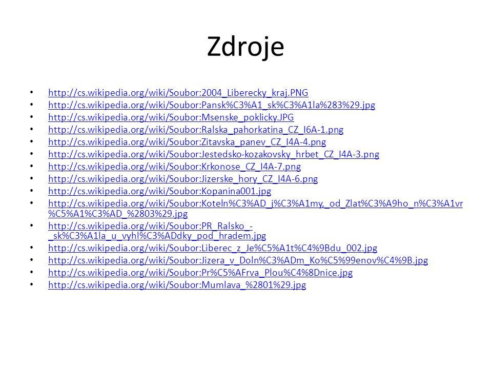 Zdroje http://cs.wikipedia.org/wiki/Soubor:2004_Liberecky_kraj.PNG