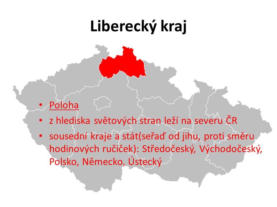 Liberecký kraj Poloha z hlediska světových stran leží na severu ČR
