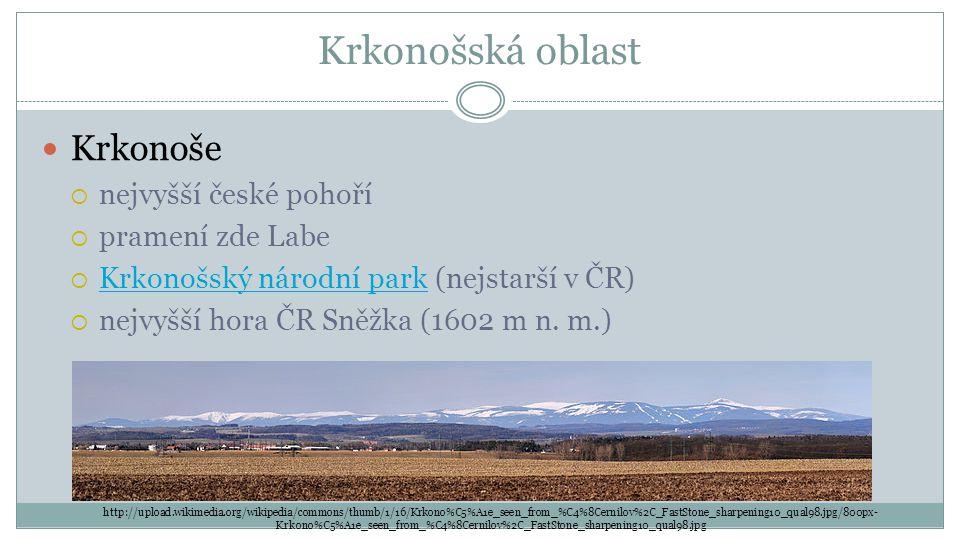 Krkonošská oblast Krkonoše nejvyšší české pohoří pramení zde Labe