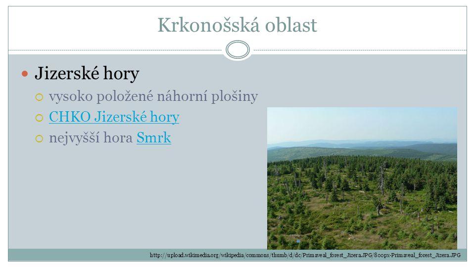 Krkonošská oblast Jizerské hory vysoko položené náhorní plošiny