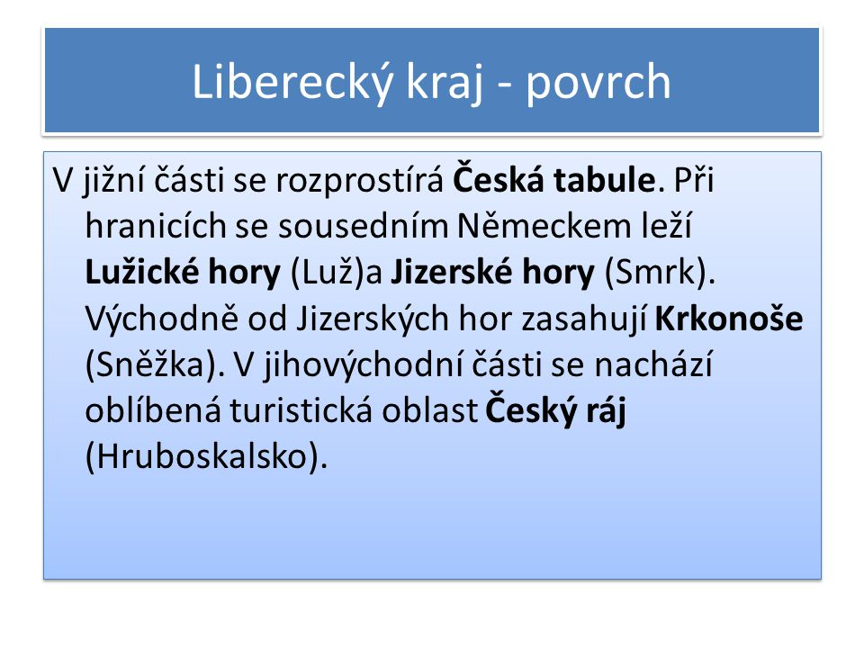 Liberecký kraj - povrch