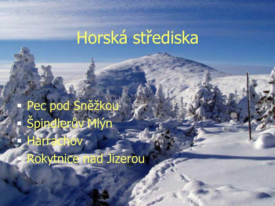 Horská střediska Pec pod Sněžkou Špindlerův Mlýn Harrachov