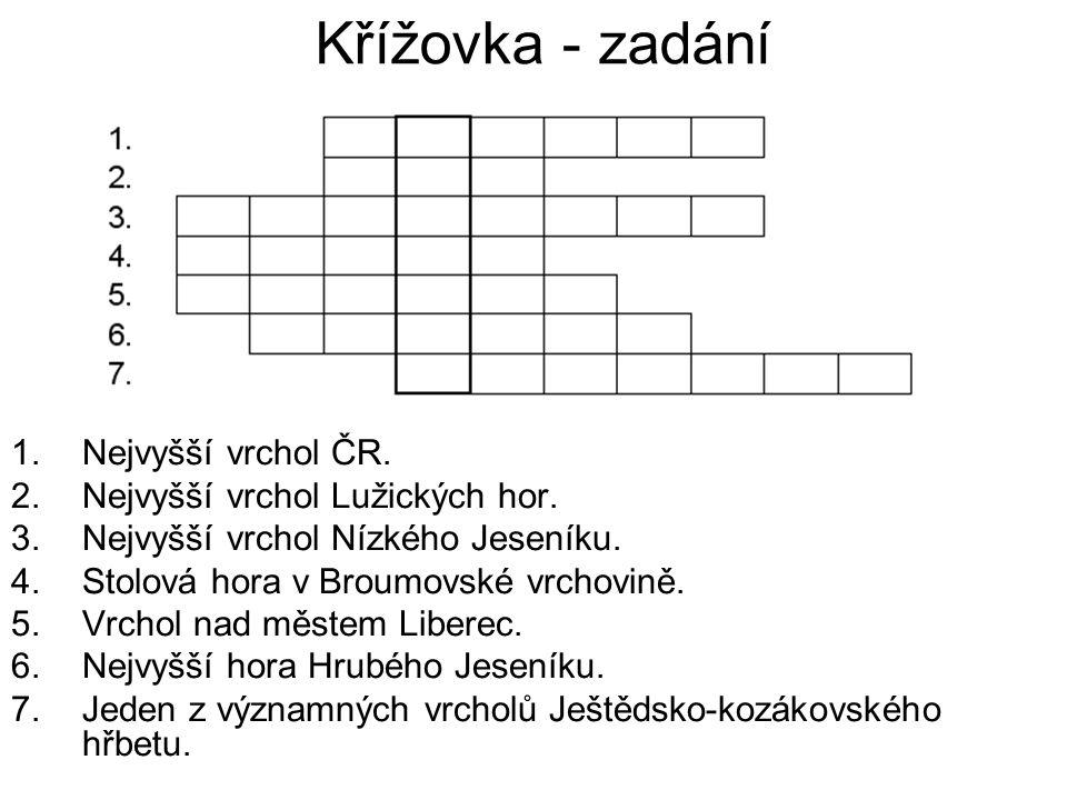 Křížovka - zadání Nejvyšší vrchol ČR. Nejvyšší vrchol Lužických hor.