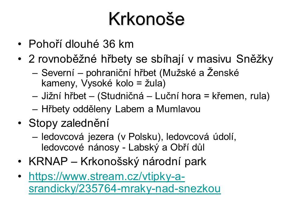 Krkonoše Pohoří dlouhé 36 km