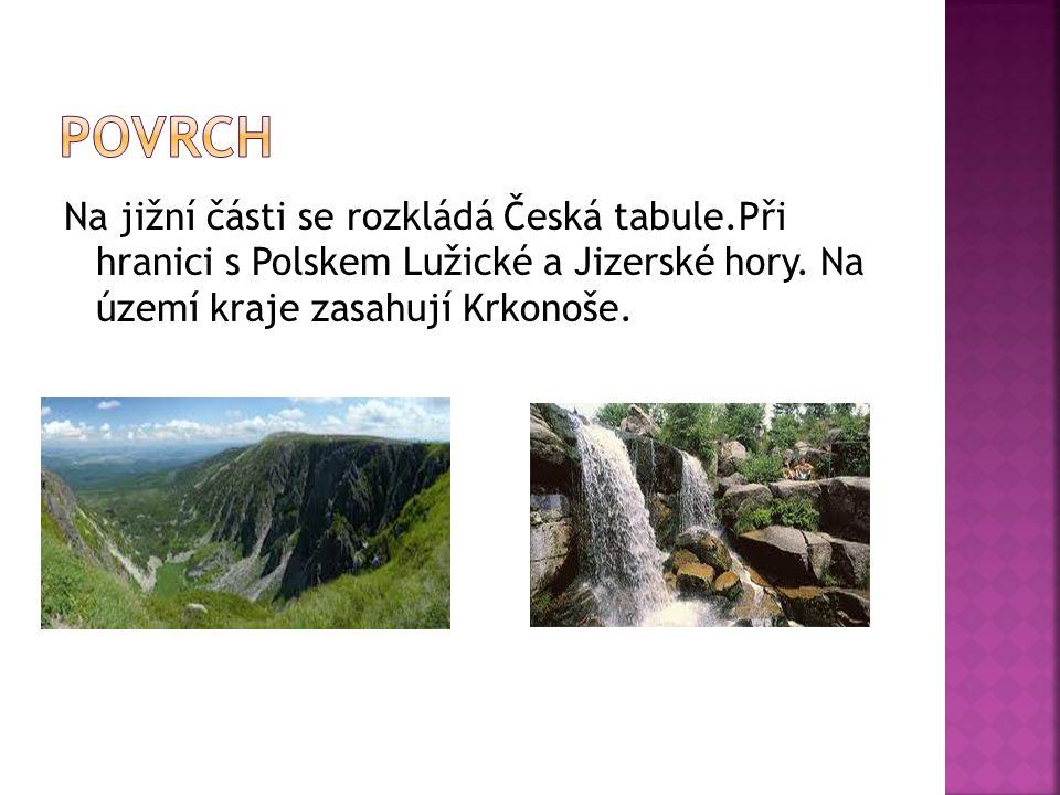 Povrch Na jižní části se rozkládá Česká tabule.Při hranici s Polskem Lužické a Jizerské hory.