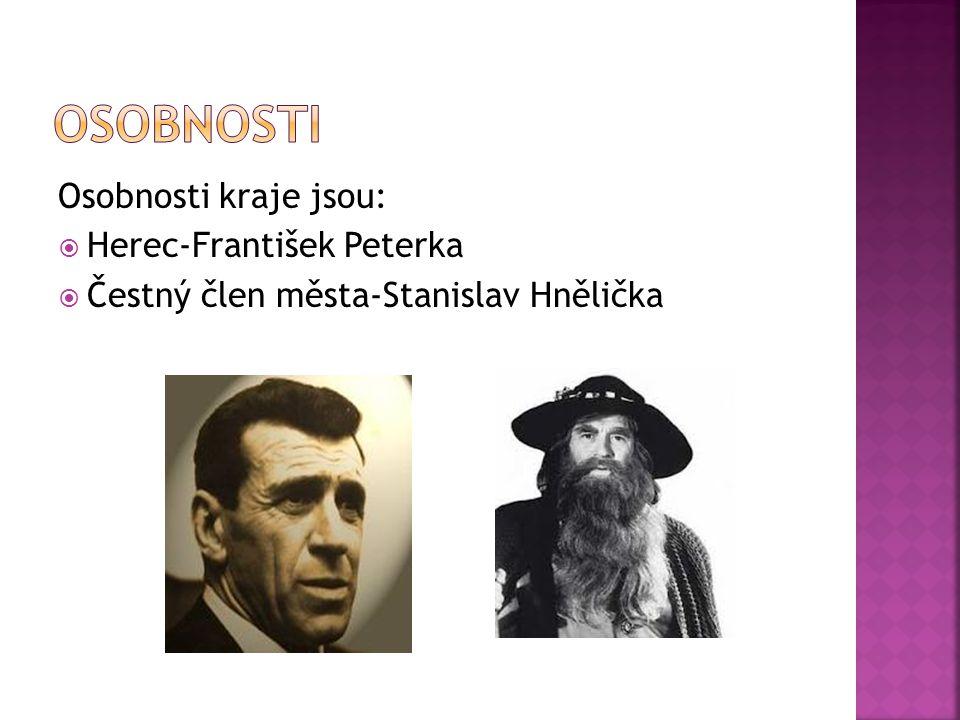 Osobnosti Osobnosti kraje jsou: Herec-František Peterka