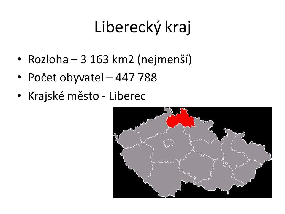 Liberecký kraj Rozloha – 3 163 km2 (nejmenší) Počet obyvatel – 447 788