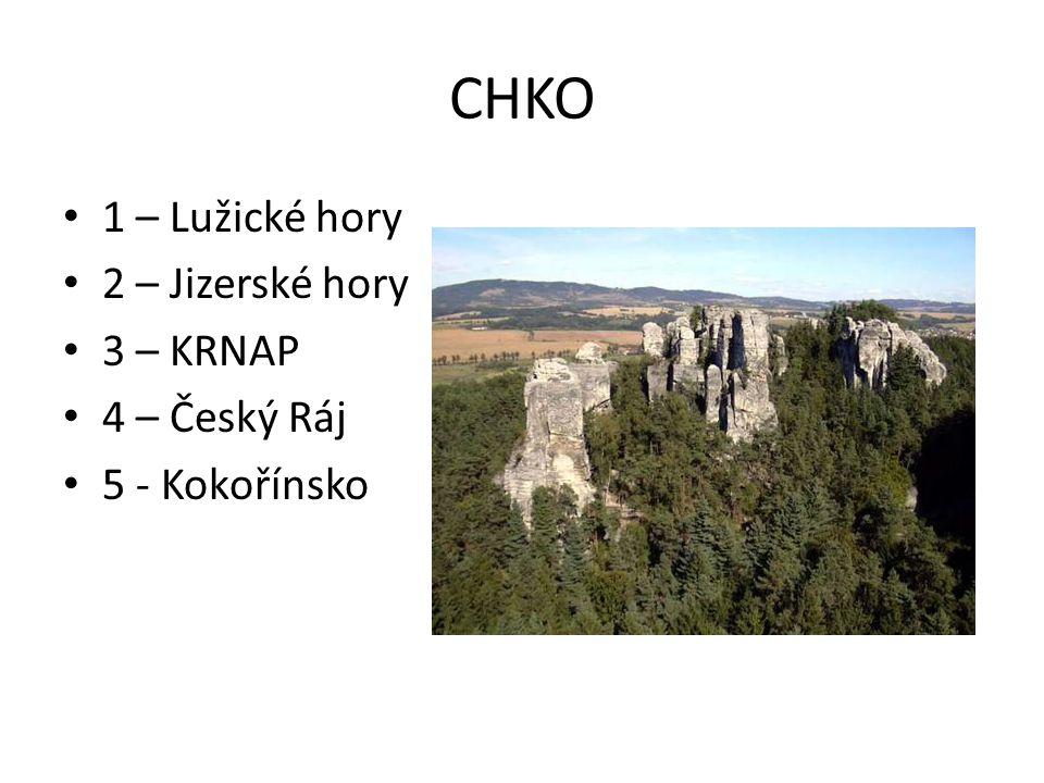 CHKO 1 – Lužické hory 2 – Jizerské hory 3 – KRNAP 4 – Český Ráj