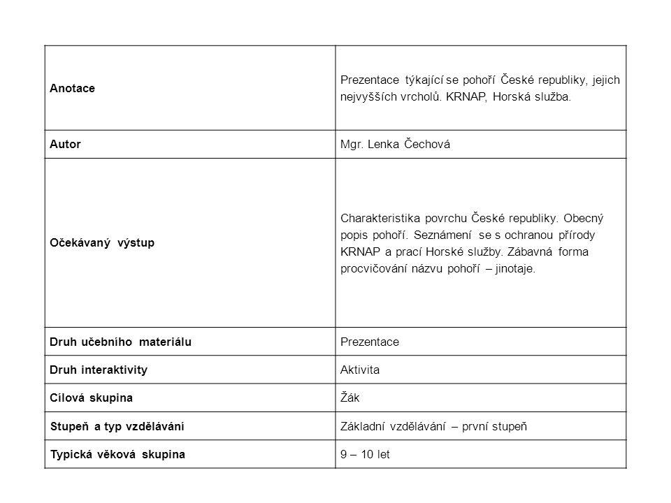 Anotace Prezentace týkající se pohoří České republiky, jejich nejvyšších vrcholů. KRNAP, Horská služba.
