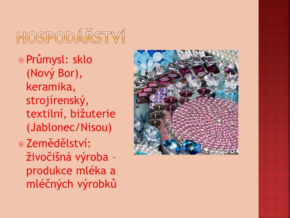 hospodářství Průmysl: sklo (Nový Bor), keramika, strojírenský, textilní, bižuterie (Jablonec/Nisou)