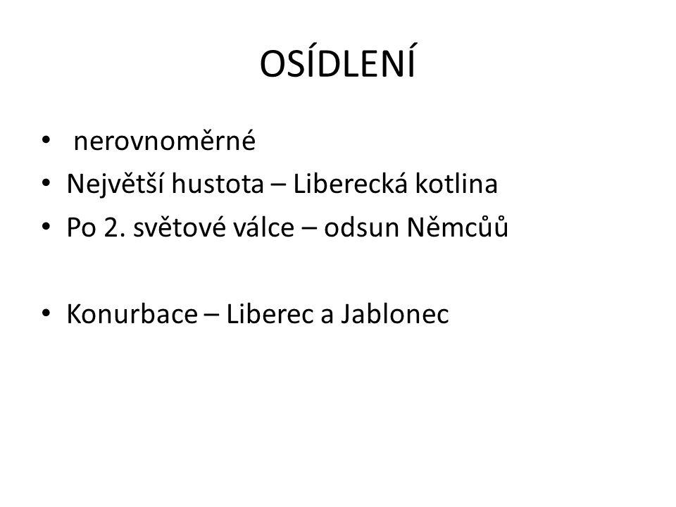 OSÍDLENÍ nerovnoměrné Největší hustota – Liberecká kotlina