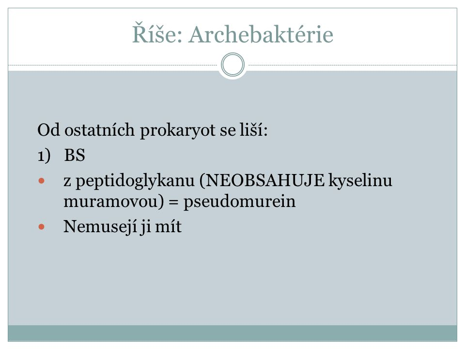 Říše: Archebaktérie Od ostatních prokaryot se liší: 1) BS