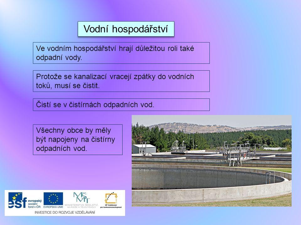Vodní hospodářství Ve vodním hospodářství hrají důležitou roli také odpadní vody.