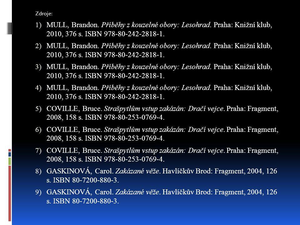 Zdroje: MULL, Brandon. Příběhy z kouzelné obory: Lesohrad. Praha: Knižní klub, 2010, 376 s. ISBN 978-80-242-2818-1.