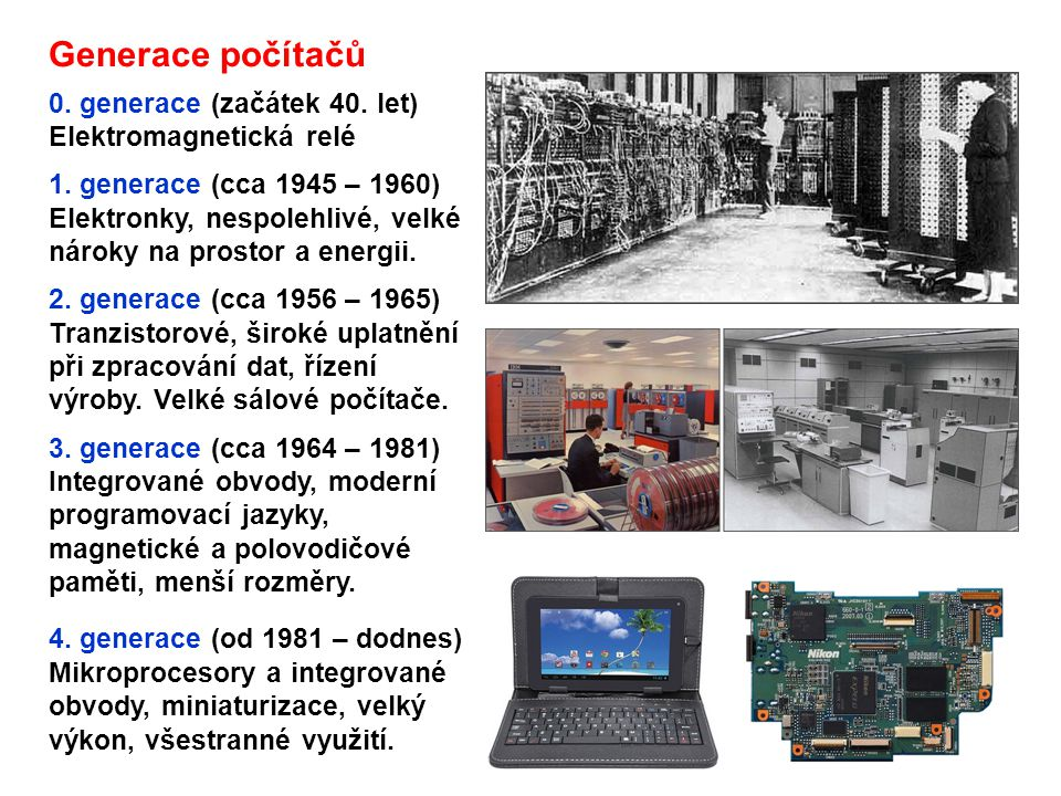 Generace počítačů 0. generace (začátek 40. let) Elektromagnetická relé