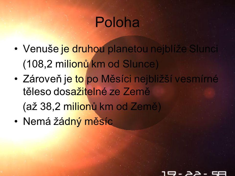Poloha Venuše je druhou planetou nejblíže Slunci